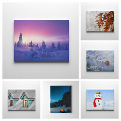Winter Snow Landscape Plant Canvas Wood Framed Wall Art Hanging Decore Poster