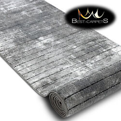 Modern Amazing Structural Runner Cozy Raft Lines Grey White 60-120cm Long Rugs