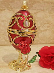 Russian Eggs Faberge Egg Jewelry Box Musical Trinket Box Wife Gift 24kt Gold 4ct
