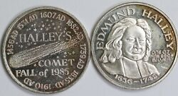 Vintage Halleyand039s Comet 1 Troy Oz 999 Fine Silver Round Fall Of 1985 - Toned