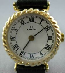 Estate 14kt Yellow Gold 3d Classic Omega Round White Face Ladies Watch 26847