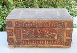 1850and039s Indian Antique Hand Crafted Brass And Wooden Shopkeeperand039s Money Cash Box