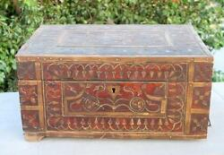 1850's Indian Antique Hand Crafted Brass And Wooden Shopkeeper's Money Cash Box