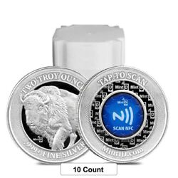 Lot Of 10 - 2 Oz Mintid Buffalo Silver Round .999+ Fine Nfc Scan Authentication