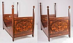 Antique Beds Pair Herts Bros Marquetry Inlaid Dutch Style Twin Size 1800s