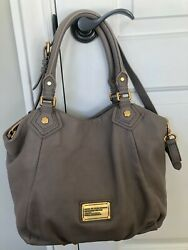 MARC BY MARC JACOBS Classic Q FRANCESCA Taupe Leather Shoulder Satchel Purse Bag $69.90