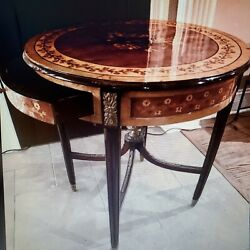 Round French Empire Or Regency Lacquer Antique Marquetry Table-will Ship-u Pay