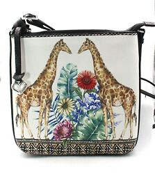 BRIGHTON Africa Stories Jozi Messenger Leather Shoulder Bag Giraffe New With Tag $175.00