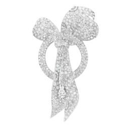 Bow Looped Within A Bombe Circle 15.65ct Micro Pave Set Cz Wedding Bridal Brooch