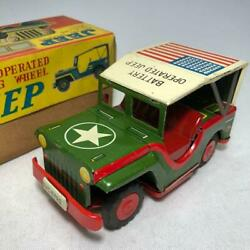 Vintage Mini Car Battery Operated Jeep Electric Running Tin Toy Antique Japan