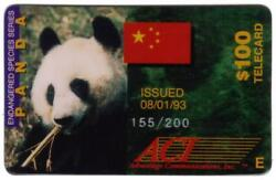 100. Giant Panda Endangered Species And Chinese Flag Nice Used Phone Card