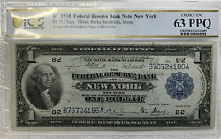 1918 1 Federal Reserve Bank Note New York Pcgs 63 Ppq Fr. 713