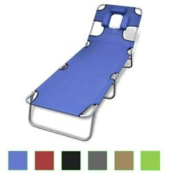 Folding Chaise Sun Lounge Beach Patio Chairs Beach Pool Outdoor Benche 4 Colors
