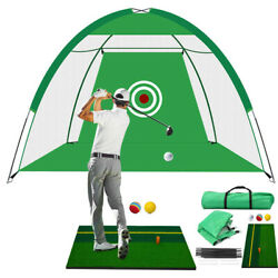 3m Foldable Golf Driving Cage Practice Hitting Net W/ Target For Indoor Outdoor