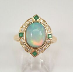14k Yellow Gold Opal Diamond And Emerald Halo Engagement Ring Size 7