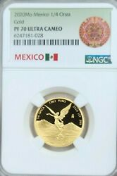 2020 Mexico 1/4 Onza Gold Libertad Ngc Pf 70 Ultra Cameo Key Only 250 Minted