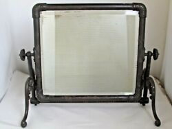 Antique Large Cast Iron Dresser / Floor Mirror Unusual Style And Rare Form 1880and039s