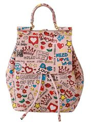 Dolce And Gabbana Pink Multicolor Leather Backpack Purse Bag Rrp 3025