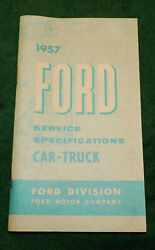 1957 Ford Nos Service Specifications Car - Truck Hand Book Manual Booklet