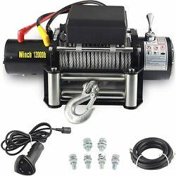 Waterproof Electric Recovery Winch Kit Trailer Car Dc Remote Control Wire Winch