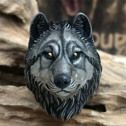 Original Handmade Wolf Head Ring 925 Sterling Silver 24k Gold Menand039s Ring Gift