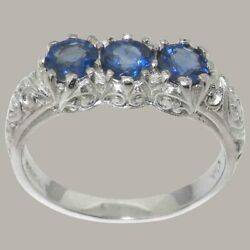 18k White Gold Natural Sapphire Womens Trilogy Ring