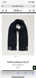Mulberry Solid Lambswool Scarf Navy Rrp Andpound135