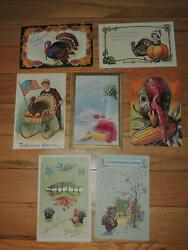 Antique Postcard Lot Of 7 Thanksgiving 1909 1913 More
