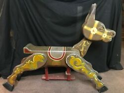 Antique Painted Large Wooden Child's Carousel Ride Donkey C.1920