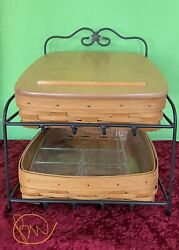 Longaberger 1999 Wrought Iron 2 Tier Paper Tray Stand With 2 Baskets And 1 Lid