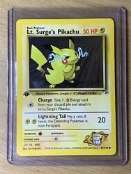 Pokemon Card First 1st Edition Lt. Surgeand039s Pikachu 81/132 Gym Heroes Tcg