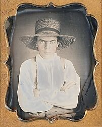 Angry Farm Boy Straw Hat + Suspenders Arms Crossed 1/9 Plate Daguerreotype G837