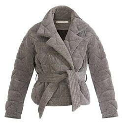 Nwt Veronica Beard Marshal Quilted Belted Wrap Coat Jacket Metallic Silver Small