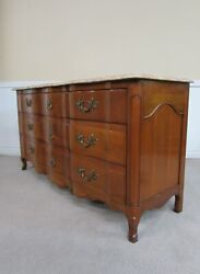 Vintage John Widdicomb French Style Marble Top Dresser 9 Drawer Low Chest