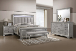 New Silver Led Light Queen King 4pc Modern Gray Bedroom Set Furniture Bed/d/m/n