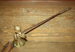 Vintage Candle Snuffer Solid Brass Angel w Lute Spiral Handle 11 1 2quot; long