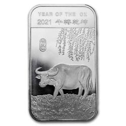 2021 Chinese Lunar Year Of The Ox 1 Oz .999 Silver Usa Made Pre-sale Bu Bar