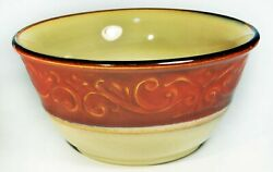 Set Of 4 Pier1 Imports Red Scroll 6 3/8 Cereal Soup Bowls Stoneware Ceramic
