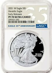💥 2021 W Silver American Eagle S1 Heraldic Type 1 Ngc Pf70 Er First Cameo 35