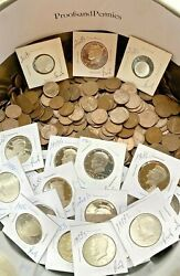 Proofs And Wheat Pennies Vintage Sale. Old Estate Finds. 30 Coin Lot Kennedy Half