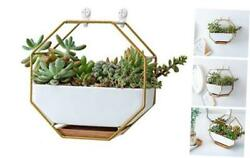 7quot; White Ceramic Wall Planters Vase and CopperDrainage Hole with Gold Metal