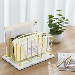 Mygift 4 Slot Modern Brass Metal Wire Desktop Mail Sorter With White Marble Base
