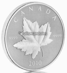 Canada 2010 Maple Leaf 5 1 Troy Ounce Pure Silver Reverse Proof Piedfort In Ogp