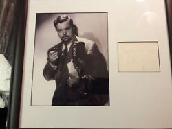 Orson Welles Framed Early Radio Photo With Signed Cut Signature Page Jsa Letter