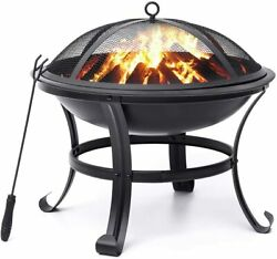 Kingso Fire Pit 22and039and039 Fire Pits Outdoor Wood Burning Steel Bbq Grill Firepit