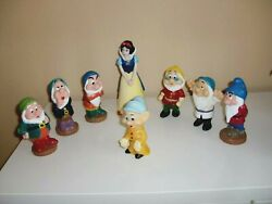 Vintagedisney Snow White-mone Bank And The Seven Squeaking Dwarsset Of 8