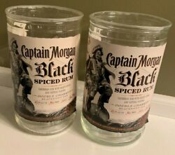 Captain Morgan Black Spiced Rum Cut Bottle Drinking Glasses, Set Of Two