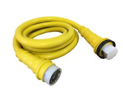 Amp Up 50a 125/250v X 15and039 Foot Marine Shore Power Boat Cord Yellow Volt Ft 50 15