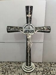 Unique Rare Original Black Mother Of Pearl Cross With 925 Sterling Silver Jesus