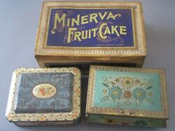 Vintage Tins 3pc Minerva Fruit Cake Ny Holland Floral Tin Jewelry Floral Tin